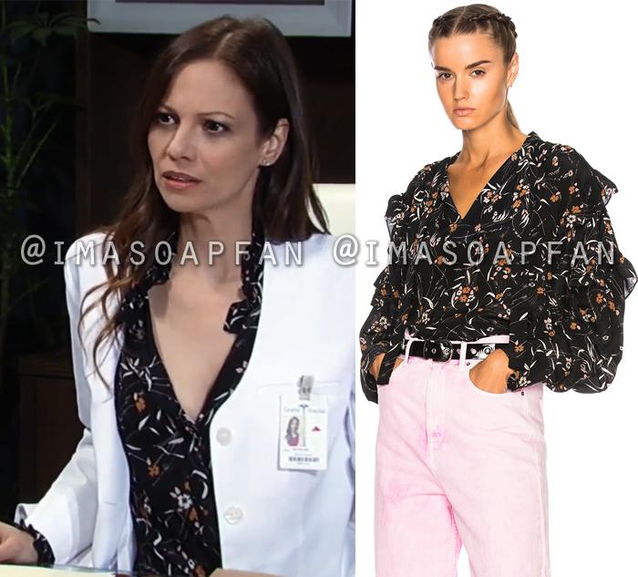 Kim Nero, Tamara Braun, Ruffled Black Floral Print Silk Blouse, General Hospital, GH