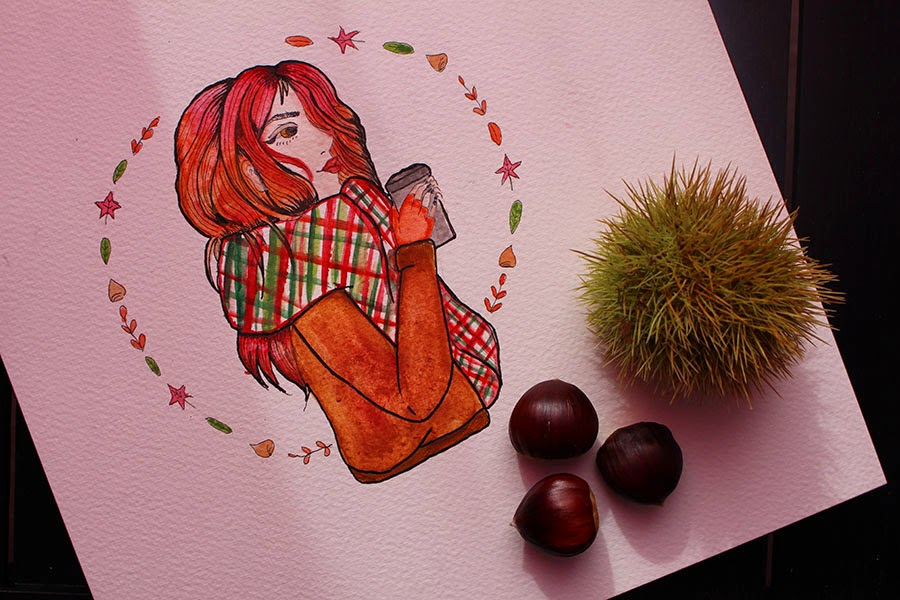 draw on monday, automne, enjoyk, blog, dessin, art, watercolor, marron, draw, draw on monday 15, octobre, feuilles, marron, foret, vert, rouge, drawing in the forest, watercolours, drawing lover,
