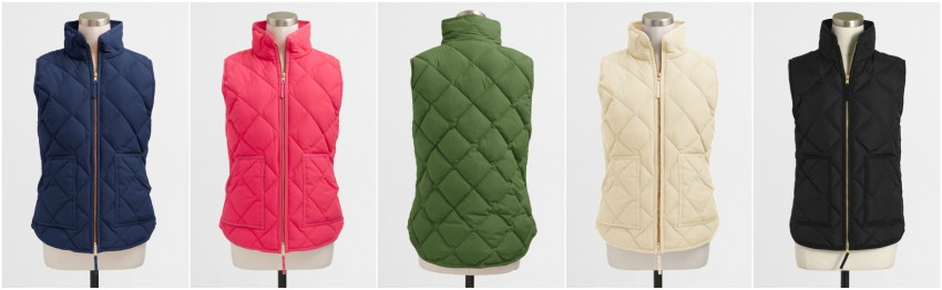 J. Crew Factory Solid Quilted Puffer Vest $40-$50 (reg $98)
