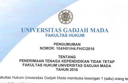 Lowongan Pegawai UGM Yogyakarta