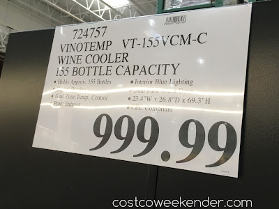 Deal for the Vinotemp VT-155VCM-C 155 Dual Zone Wine Cooler at Costco