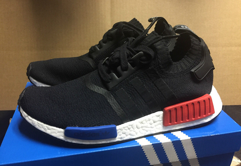 65a0ebfb9 Adidas Originals NMD R1 Primeknit Runner Core Black Lush Red Mens ...