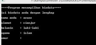 cara menampilkan biodata menggunakan bahasa c