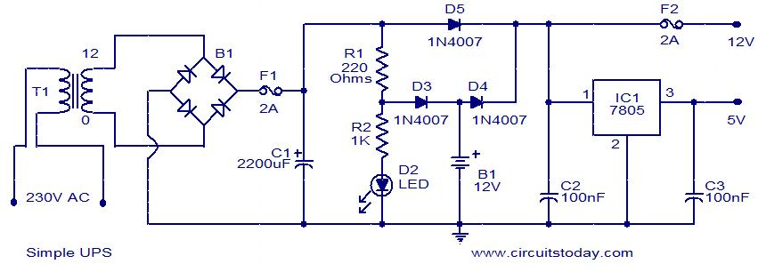 Simple v ups circuit electronic