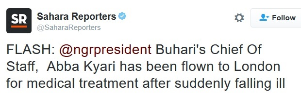 Just In: President Buhari's Chief of Staff Hurriedly Flown to London After a Sudden Thing Happened
