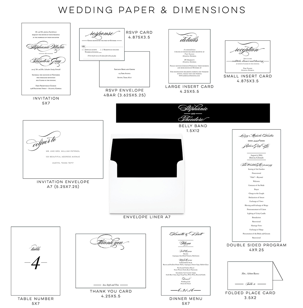 Creating A Cohesive Feel For Your Wedding Blush Paperie - Place card dimensions