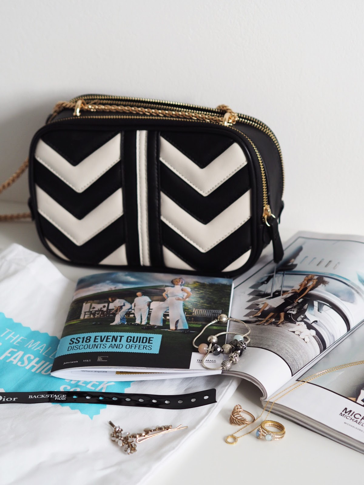 BFWSS18 Event Guide Flat Lay with Pandora Essence Bracelets and Rings and a chevron Gucci Dupe Monochrome Accessorize bag