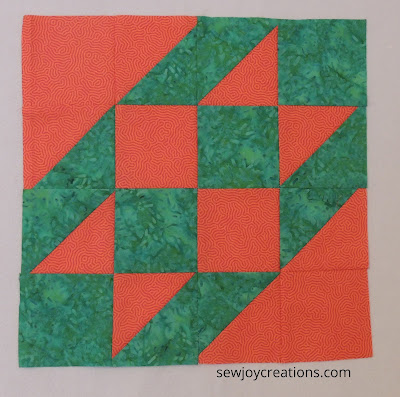one orange and green block hst and squares