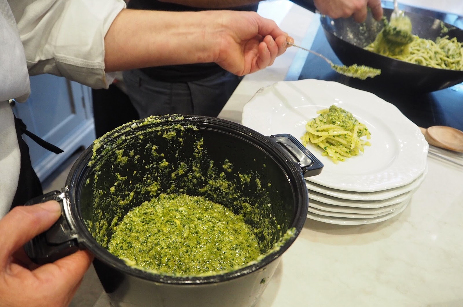 Homemade pesto with pici spaghetti