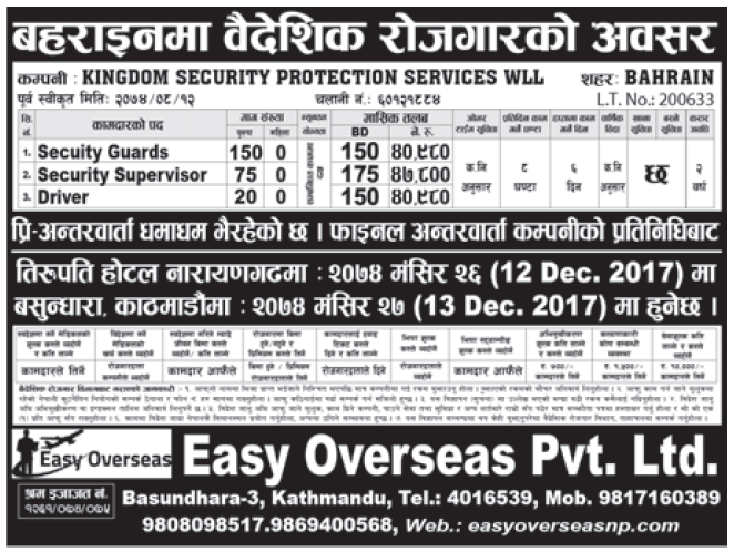 Jobs in Bahrain for Nepali, Salary Rs 47,800