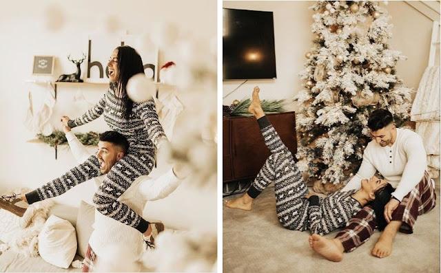 Poranek w świątecznych piżamach. Świąteczna, zimowa sesja zdjęciowa pary. Wykonana przez Kierstin Jones. USA