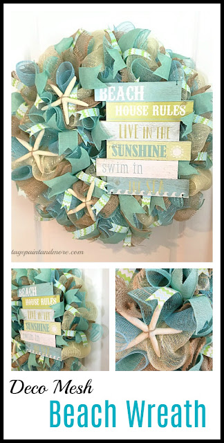 Vintage Paint and more... a beach inspired deco mesh wreath
