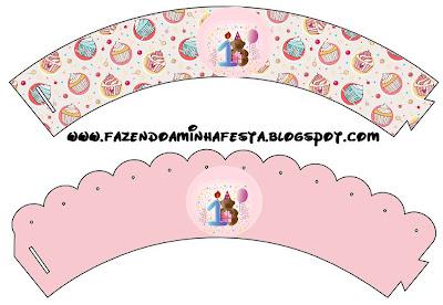 Wrappers o Bases para cupcakes para fiesta de Primer Año de nena.