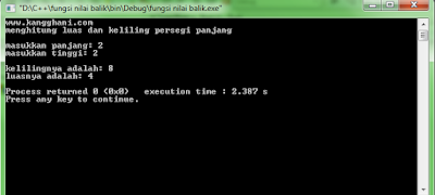 Contoh Program Fungsi Non void C++ : Menghitung Luas dan Keliling Persegi Panjang