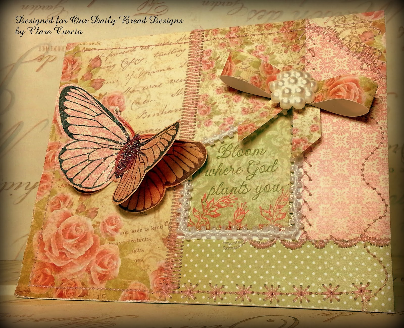Stamps - Our Daily Bread Designs Bloom and Butterfly Single, ODBD Blushing Rose Paper Collection