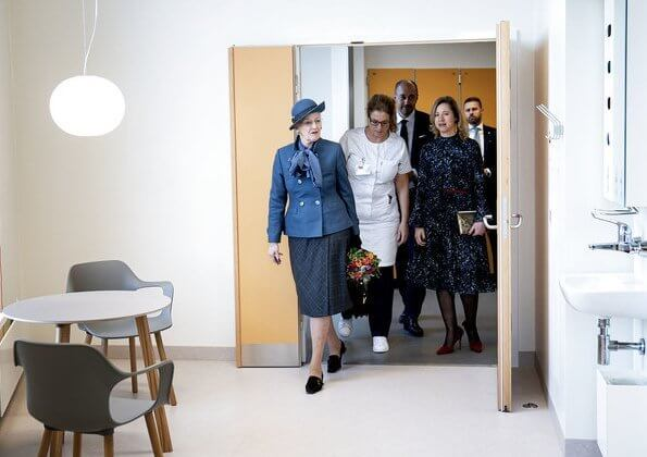 Queen Margrethe II attended the opening of the North Wing at Rigshospitalet in Copenhagen. the treatment of patients with burns, epilepsy