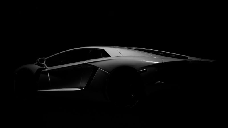 White Lamborghini on Black Background