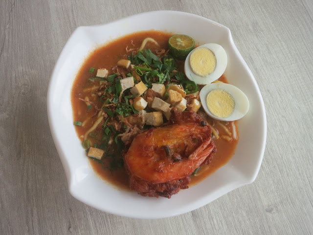 Cik Aini's Mee Rebus with Prawn Fritters