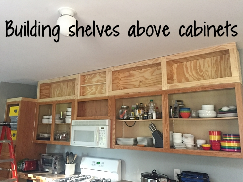 shelves above cabinets