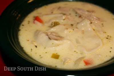 A creamy chicken soup that uses strips of flour tortillas as a dumpling.