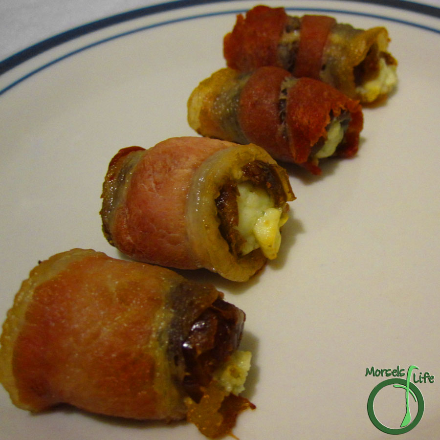 Morsels of Life - Dátiles con Tocino - Bacon wrapped dates stuffed with blue cheese - a perfect combination of sweet, savory, and smoky.