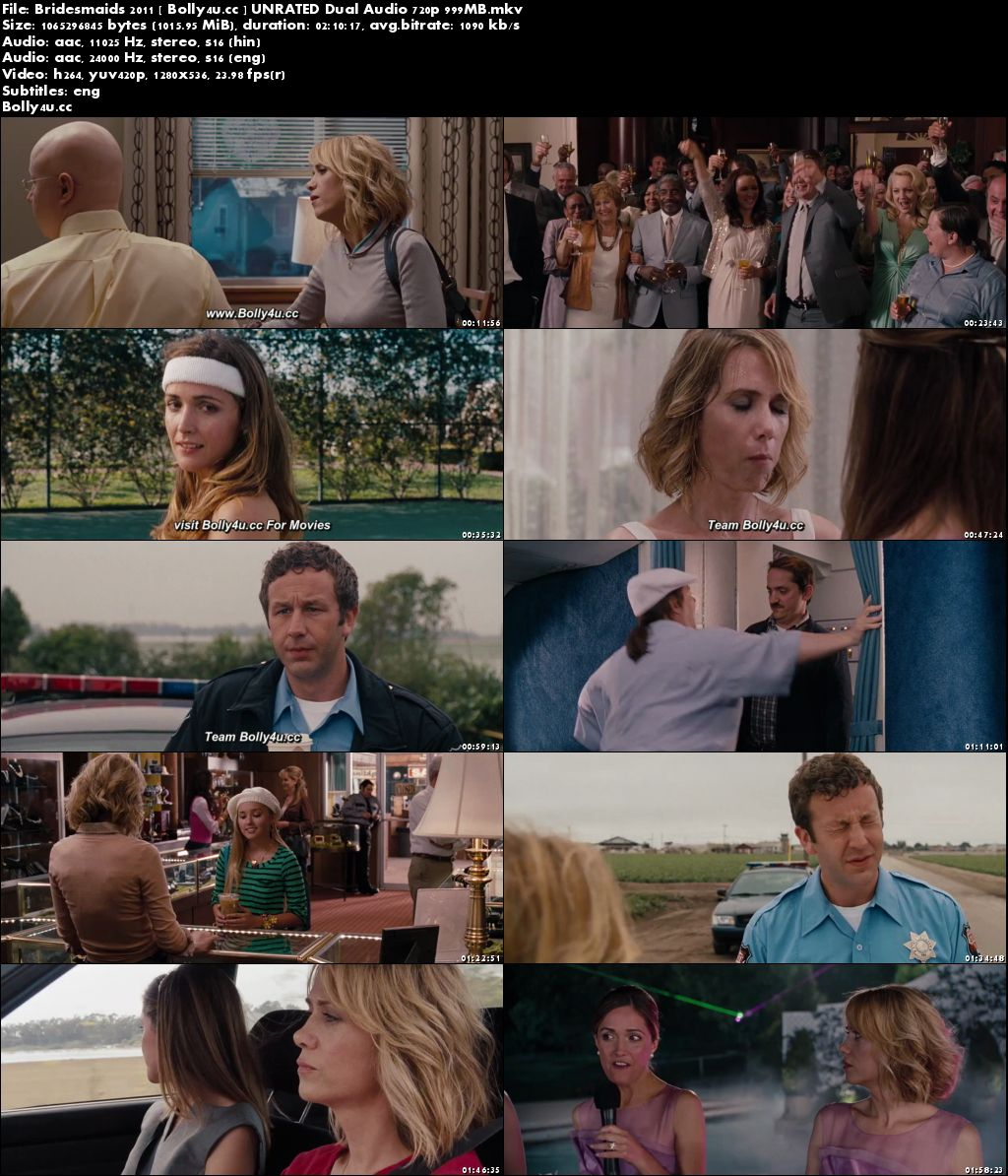 Bridesmaids 2011 BluRay 999Mb Hindi UNRATED Dual Audio 720p Download