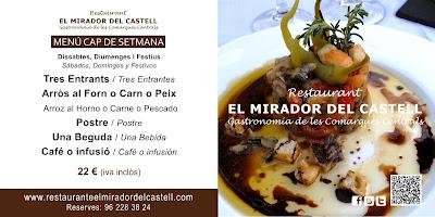Menú fin de semana Castillo Xàtiva