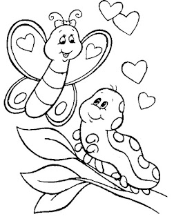 Caterpillar Love Cute Butterfly  Coloring Pages