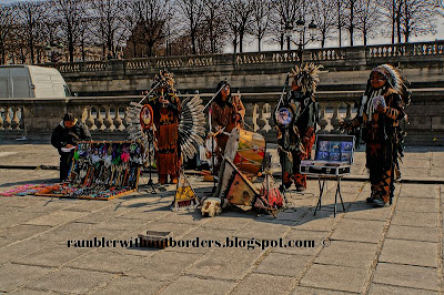 Native American performing in Place de la Concorde, Paris