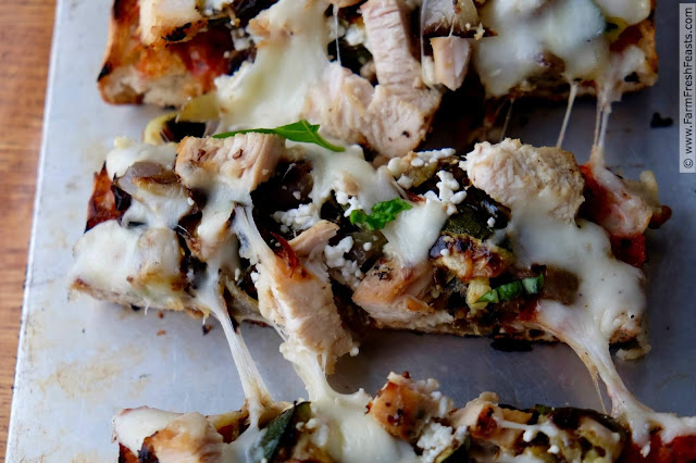 Skip messing with raw dough and use ciabatta bread for this grilled pizza. Topped with grilled chicken, eggplant, peppers and zucchini, this flavorful pizza comes together quickly and keeps your kitchen cool.