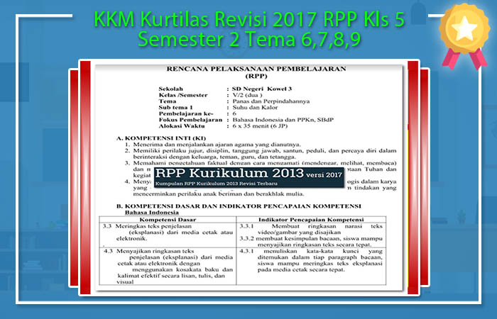 KKM Kurtilas Revisi 2017 RPP Kls 5 Semester 2 Tema 6,7,8,9