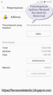 aplikasi adsense berhasil dipindah ke memori eksternal