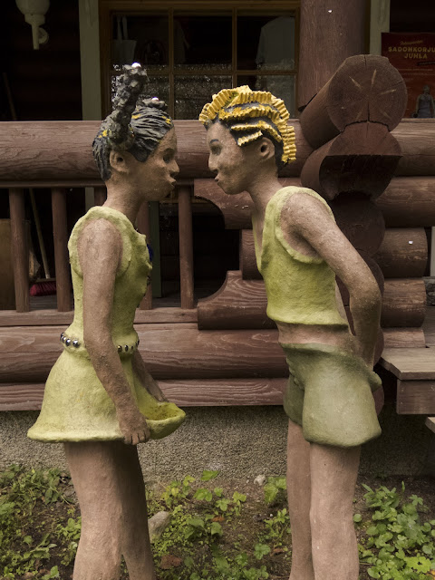 Sculptures of mischievous kids at Parikkala sculpture park in southeastern Finland