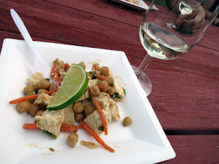 Green Curry Chicken on Morrocan Bean Salad paired with EastDell Riesling