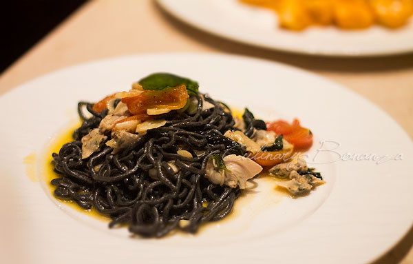 Black Ink Tonnarelli Aglio Olio e Peperoncino with clams, basil & cherry tomato confit