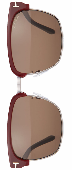 TOM FORD River Dual-Rimmed Sunglasses, Burgundy/Black