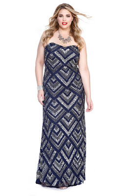 Geometrical Patterns Sequined Plus Size Dress