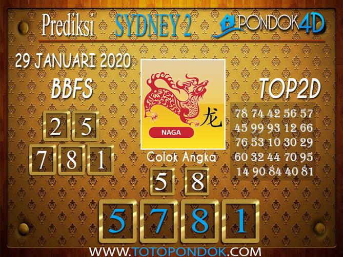 Prediksi Togel SYDNEY 2 PONDOK4D 29 JANUARI 2020