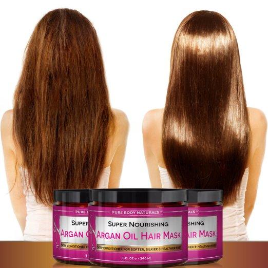 Mujer con el cabello antes y después con mascarillas hidratantes.