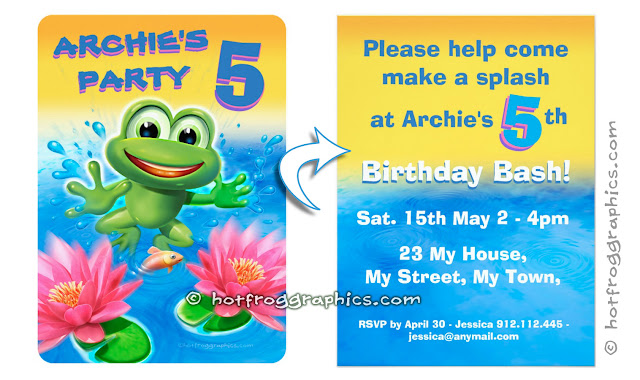 Customisable birthday invites from Leaping Frog range by Hot Frog Graphics