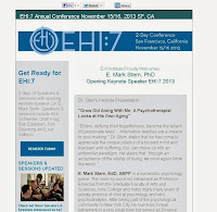 Image and link to EHI7 email update with announcement of Dr E Mark Stern as Opening Keynote Speaker