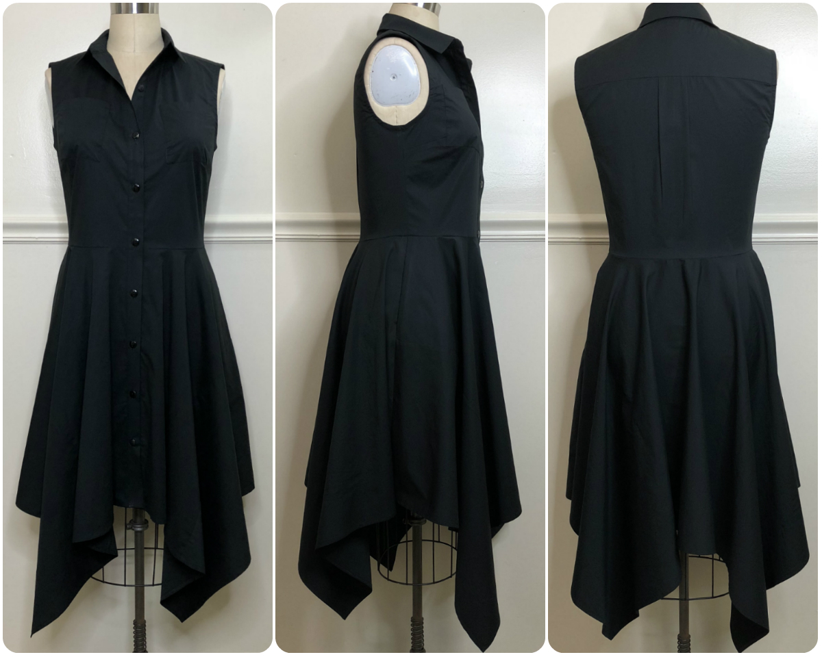 Review: McCall's 7351 | Black Poplin Handkerchief Hem Shirt Dress!