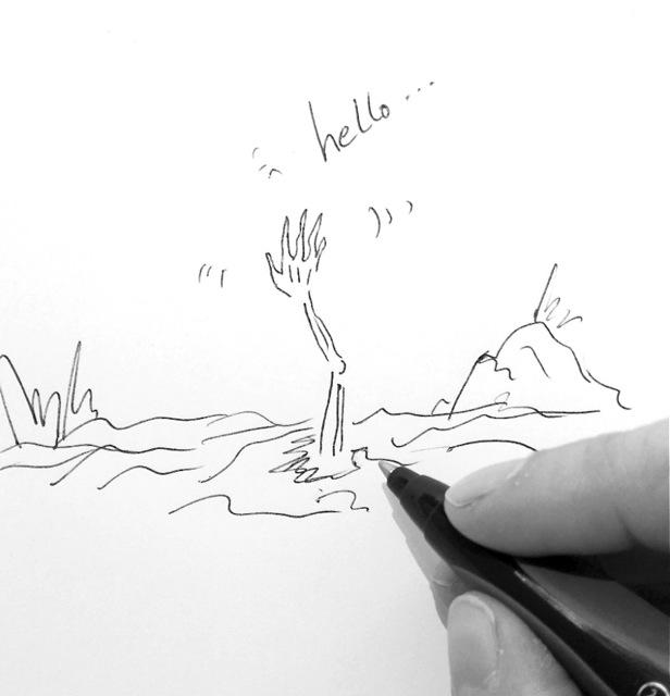 Zeichnung einer Knochenhand, die aus dem Boden heraus winkt. Gruft.