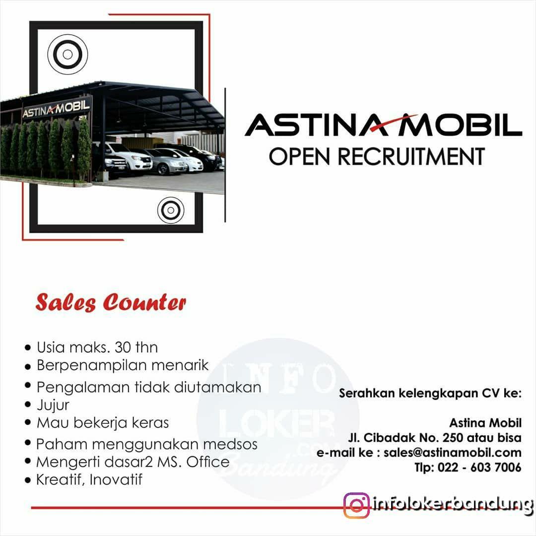 Lowongan Kerja Sales Counter Astina Mobil Bandung Juli 2018
