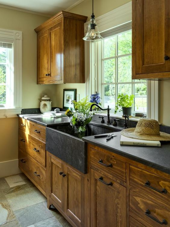 Luxury I love these soapstone counters so pretty