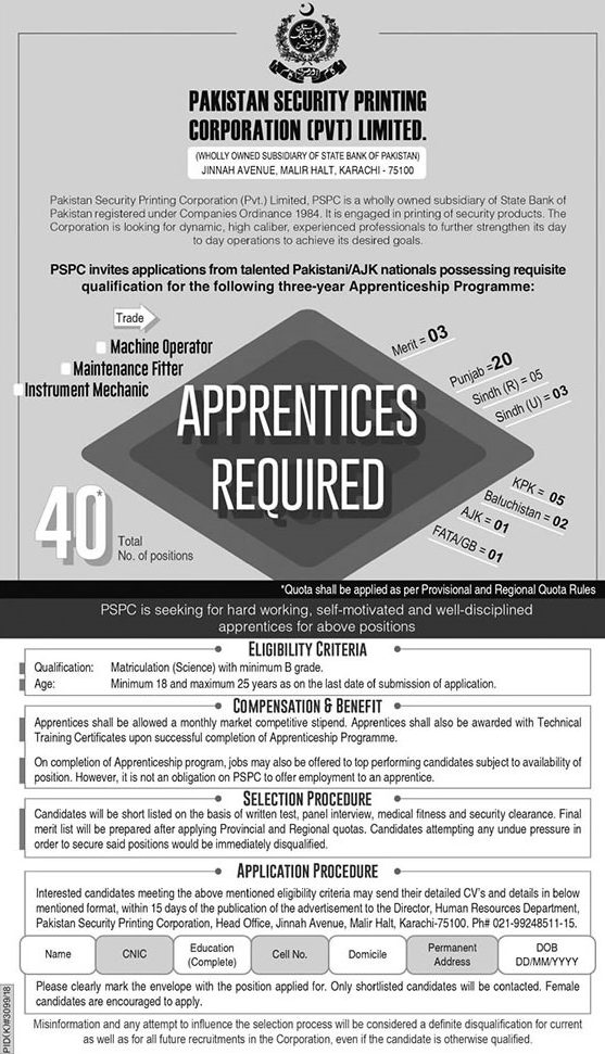 Pakistan Security Printing Jobs