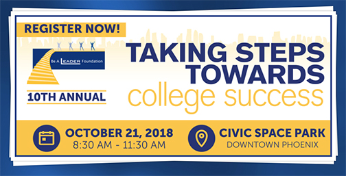 Snapshot from Be a Leader web site page for event.  Text: Register now! Taking Steps Towards College Success.  Oct. 21, 8:30-11:30 a.m.