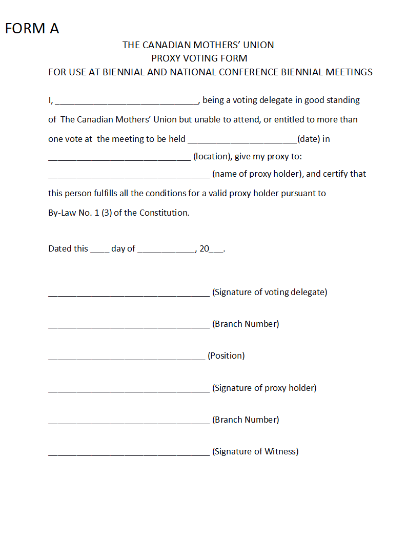 proxy form template - 28 images - hoa proxy form free printable ...