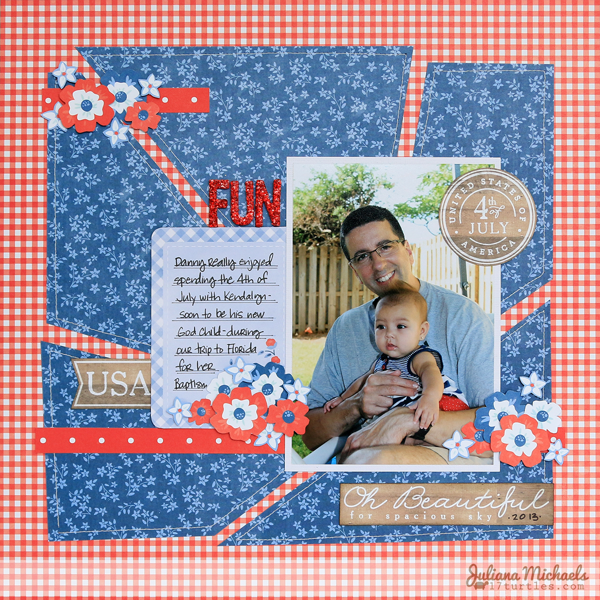 4th of July Fun Scrapbook Page Juliana Michaels Pebbles Americana