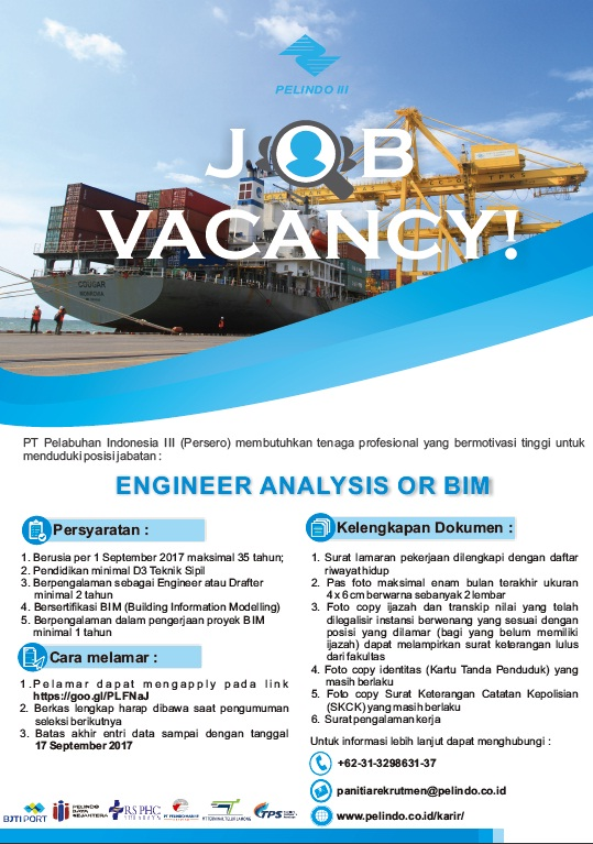 Lowongan Kerja Engineer Analysis Pt Pelabuhan Indonesia Iii Pusat Info Lowongan Kerja 2021